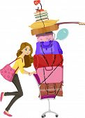 Illustration of a Girl Moving a Tall Stack of Bags and Other Belongings During Her Move to the Dorm