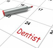 Dentist Calendar Shows Oral Health And Dental Appointment