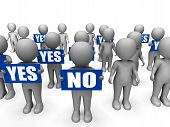 Characters Holding Yes No Signs Mean Uncertain Decisions