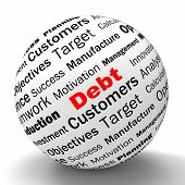 Debt Sphere Definition Means Financial Crisis And Obligations