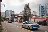 SINGAPORE - NOVEMBER 08, 2012: Hindu Temple in Chinatown district of Singapore - one of the most col
