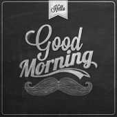 Good Morning Typographical Background On Chalkboard With Chalk