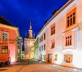 Sighisoara In Transylvania At Night