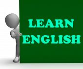 Learn English Sign Shows Foreign Language Teaching