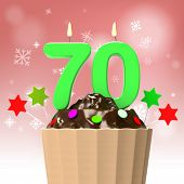 Seventy Candle On Cupcake Shows Elderly Celebration Or Reunion