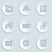 Computer web icons, white sticker buttons