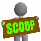 Scoop Sign Character Means Gossipmonger Or Intimate Tatter