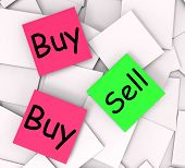 Buy Sell Post-it Notes Mean Shopping Retail And Trade