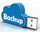 Backup Cloud Pen Drive Means Data Storage Or Safe Copy