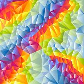 Abstract vector multicolored triangles techno background