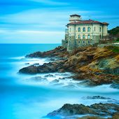 pic of leghorn  - Boccale castle landmark on cliff rock and sea in winter - JPG