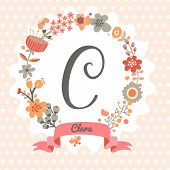 Personalized monogram in vintage colors. Stylish letter C. Can be used as greeting card, invitation card. Floral wreath in vector
