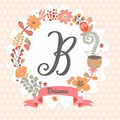 Personalized monogram in vintage colors. Stylish letter B. Can be used as greeting card, invitation