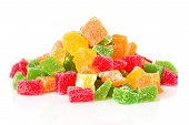 Sweet Candied Fruit Closeup, Isolated
