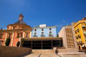 Valencia downtown cathedral and basilica in Plaza Cors Mare de Deu at Spain