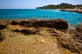 Denia Alicante Las rotas rocky beach in Spain and San Antonio Cape