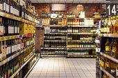 Wine Bottles On Supermarket Stand