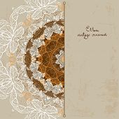 Ornamental vintage background with place for text. Ethnic vector card