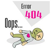 picture of not found  - Concept of not found error message with cartoon voodoo doll - JPG