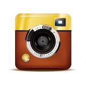 Retro Camera Icon Vector Illustration. Detailed Vector Icon of Brown leather covered Retro Viewfinde