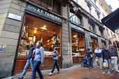 BOLOGNA, ITALY - APRIL 19, 2014: An exterior view of Ditta A.F. Tamburini, a restaurant and fresh food market,  in Bologna, Italy, on Saturday, April 19, 2014.