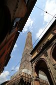 BOLOGNA, ITALY - APRIL 19, 2014: One of two mEdieval towers on Piazza di Porta Ravegnana in Bologna,