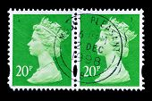 Two Old Postage Stamps With Portrait Of Queen Elizabeth