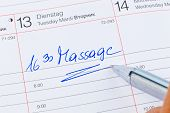 a date is entered on a calendar: massage