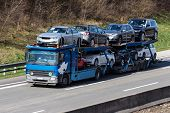 trucks on the highway. road transport for freight.