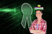 Composite image of merit badge and student against green and black circuit board