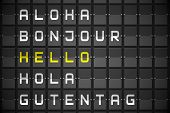 Hello in languages on digitally generated black mechanical board