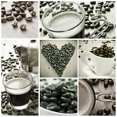 a collage of different pictures in black and white of cups of coffee and toasted coffee beans