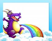 Illustration of a dragon near the rainbow in front of the empty template