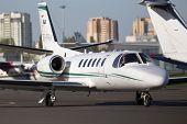Cessna 550B Citation Bravo business aircraft running on the runway