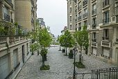 Paris, France. Picturesque street on the Montmartre hill