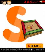Letter S With Sandbox Cartoon Illustration