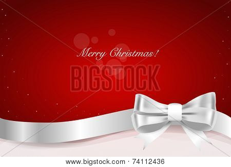Christmas background. Gift bow and Shiny ribbon on red background. Vector illustration. poster