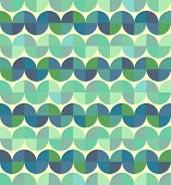 Worn textile geometric seamless pattern, decorative wavy abstract background.