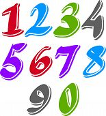 Contemporary handwritten bright digits, colorful cursive numbers.