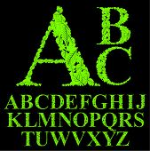 Floral font made with leaves, natural alphabet letters set