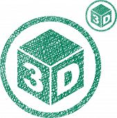 3D cube icon isolated on white background with sketch lined hand drawn texture.