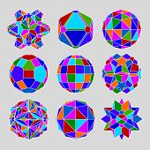 Collection of complex dimensional spheres and abstract geometric figures with white outline. Kaleido