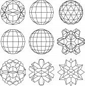 Collection of black and white complex dimensional spheres and abstract geometric figures.