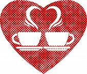 Romantic dating icon with two coffee cups and steam creates a heart, pixel print halftone dots textu