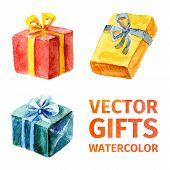 Vector Gifts. Watercolor 2.