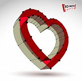3d mesh stylish web red love heart sign isolated on white background,