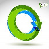 3d mesh stylish web update sign isolated on white background, colorful eco lattice renew icon, green
