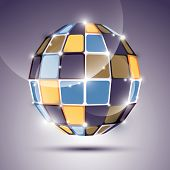 3D Glossy Mirror Ball Created From Geometric Figures. Festive Illustration - Eps10 Dimensiona