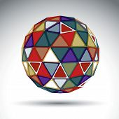 Bright Abstract Spherical Object With Kaleidoscope Effect, Dimensional Modern Creative Sphere Isolat