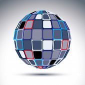Gray Urban Spherical Fractal Object, 3D Metal Mirror Ball. Kaleidoscope Orb Created From Squares